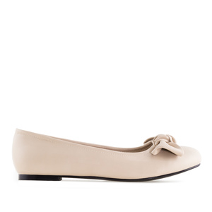 Bow Ballet Flats in Beige faux Leather