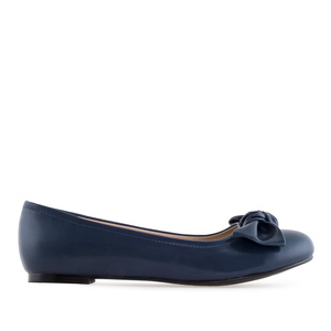 Bow Ballet Flats in Navy faux Leather