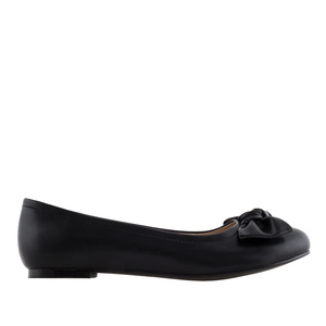 Bow Ballet Flats in Black faux Leather