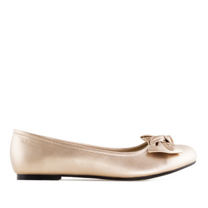 Bow Ballet Flats in Gold faux Leather