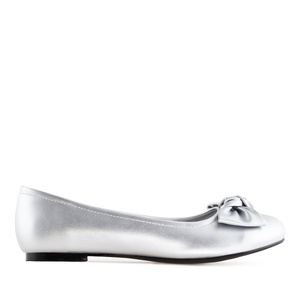 Bow Ballet Flats in Silver faux Leather