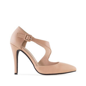 Crossover Stilettos in Cream-coloured faux Leather