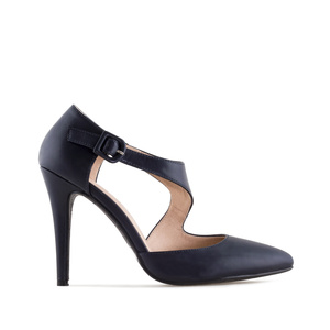 Crossover Stilettos in Navy faux Leather