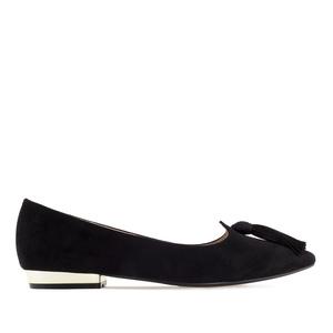 Tassle Ballet Flats in Black Suede