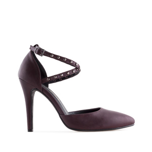 Microstud Stilettos in Burgundy faux Leather
