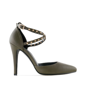 Microstud Stilettos in Olive Green faux Leather