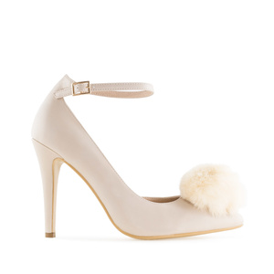 Pompom Ankle Stilettos in Beige faux Leather