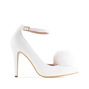 Pompom Ankle Stilettos in White faux Leather