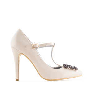Jewel T-Bar Stilettos in Beige faux Leather