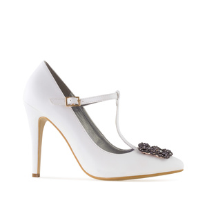 Jewel T-Bar Stilettos in White faux Leather