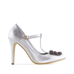 Jewel T-Bar Stilettos in Silver faux Leather