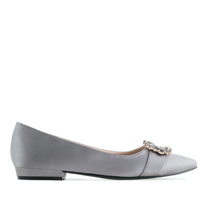 Gemstone Flats in Grey Satin
