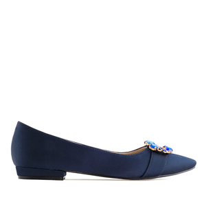 Gemstone Flats in Navy Satin