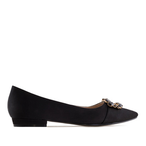 Gemstone Flats in Black Satin