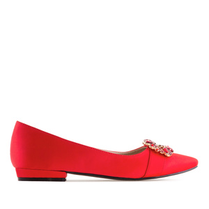 Gemstone Flats in Red Satin
