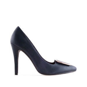 High-Heels in Soft-Marineblau mit Applikation