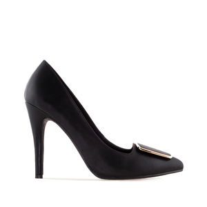 High-Heels in Soft-Schwarz mit Applikation