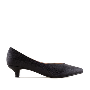 Court Shoes in Black Croco
