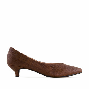Court Shoes in Earth coloured Croco