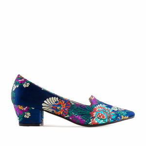 Heeled Slipper Shoes in Blue Floral Embroidered Fabric