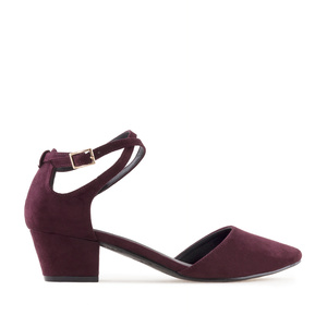 Open Side Shoes in Burgundy Suede