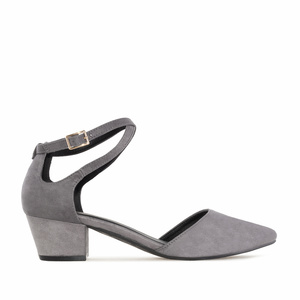 Open Side Shoes in Grey Suede