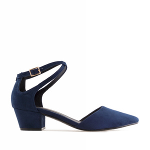 Open Side Shoes in Navy Suede