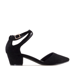 Open Side Shoes in Black Suede