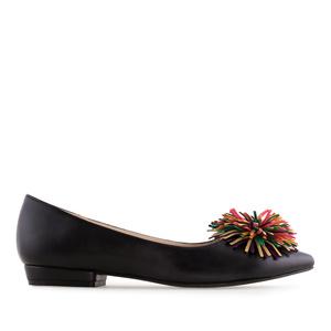 Multicolour Pompom Black Flats