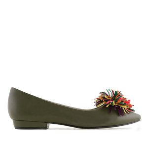 Ballerines couleur Olive Pompon Multicolore