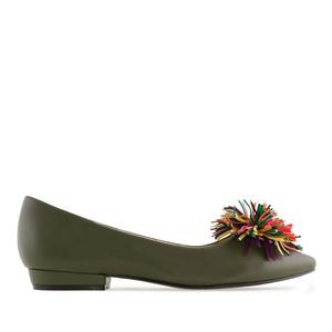 Multicolour Pompom Olive Green Flats