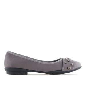 Gemstone Flats in Grey Suede