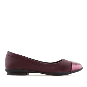 Toe Cap Flat Shoes in Burgundy faux Leather