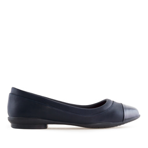 Toe Cap Flat Shoes in Navy faux Leather