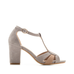 T-Bar Sandals in Grey Suede