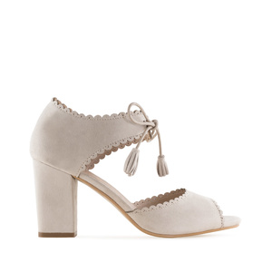 Tassle Sandals in Beige Suede