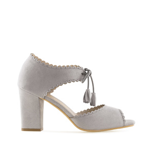 Sandales Pompons en Daim Gris