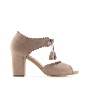 Sandales Pompons en Daim Marron