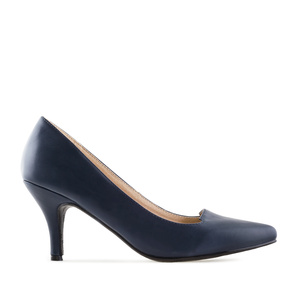 Court Shoes in Navy faux Leather