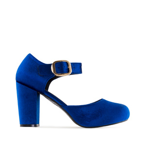 Mary Jane-Pumps in Samt-Blau