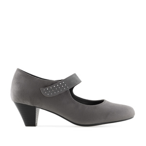 Heeled Mary Janes in Grey Suede