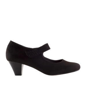 Heeled Mary Janes in Black Suede