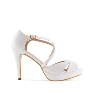 Stiletto Sandals in White faux Leather