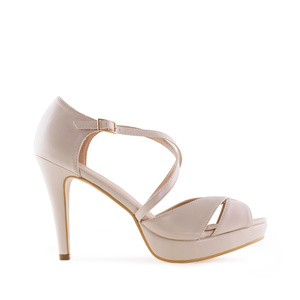 Stiletto Sandals in Cream-coloured faux Leather