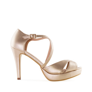 Stiletto Sandals in Gold faux Leather