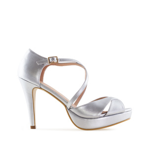 Stiletto Sandals in Silver faux Leather