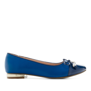 Toe-Cap Ballerinas in Deep Blue faux Leather