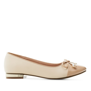 Toe-Cap Ballerinas in Beige faux Leather