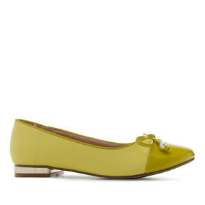 Toe-Cap Ballerinas in Lime-Yellow faux Leather