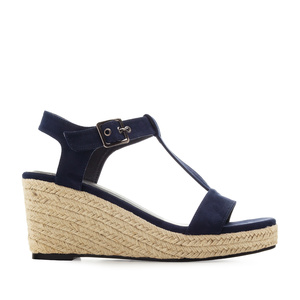 Semišové T-bar sandále na klínu. Modrá marine.